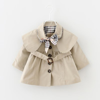 Next 2017 New Spring Baby Coat And Jacket For Girls England Lady style Windbreaker For Girls Full Sleeve bow Toddler Outerwear