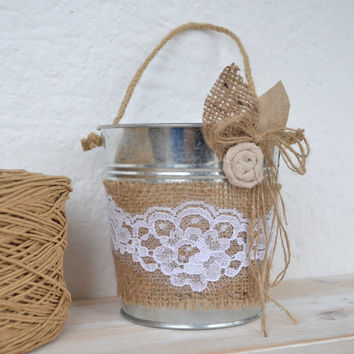 Flower Girl Basket Flowergirl Pail Metal Burlap Baskets Rustic FLower Girl  Decoration
