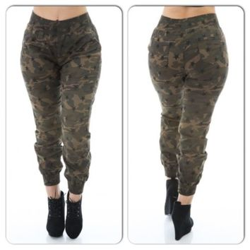 Women Plus Size  Camouflage Army Green Pant Jogger  2XL