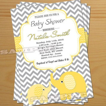 Yellow, Lemon Chevron Baby Shower Invitation -FREE Thank You card, Elephant, Boy, Girl, Gender Neutral, Printable DIY