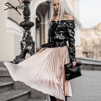 Autumn satin black long skirt summer Casual smooth women skirt 2016 winter high waist skirt Elastic pink pleated skirt