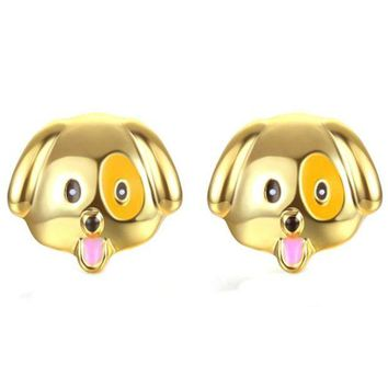 DCCKJY1 SUSENSTONE Alloy drip earrings cute puppy earrings gold / silver / rose gold 1 Pair New Fashion Simple Dog Head Alloy Women Stud