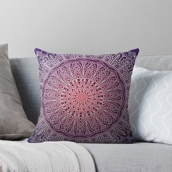 'White mandala on purple background' Throw Pillow by Maria-So