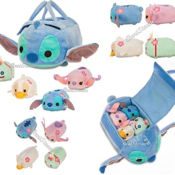 "Licensed cool NEW Lilo & Stitch 8"" L Plush Bag W/ 4 Tsum Tsum Mini Plush 3 1/2"" L Disney Store"