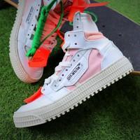Virgil Abloh Design OFF-WHITE Low 3.0 Hi-Top White / Pink Sneakers - Sale