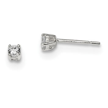 Sterling Silver 3mm Round Basket Set CZ Stud Earrings QE3143