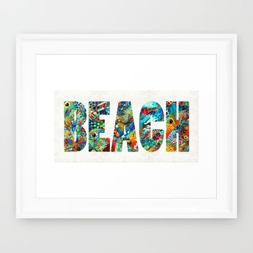 Beach Art - Beachy Keen - By Sharon Cummings Framed Art Print by Sharon Cummings | Society6