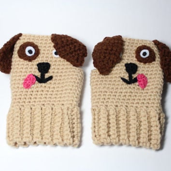 Childrens Puppy fingerless mittens/ Kids animal fingerless gloves/ childrens winter accessories