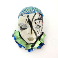 Ceramic Clown Mask Brooch, Vintage Painted Clown Face Pin