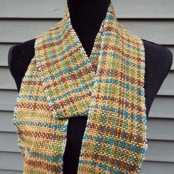 Handwoven scarf, Mens cotton scarf, lightweight scarf, brown scarf, long scarf, hand weaving, hand-woven accessories, natural fibers