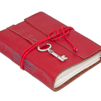 Red Leather Journal with Lined Paper and Key Bookmark - Ready to Ship