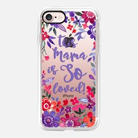 Loved Mama - pink and purple floral on transparent iPhone 7 Case by Micklyn Le Feuvre | Casetify