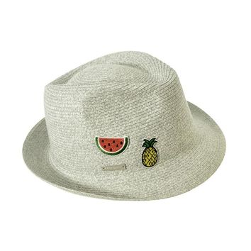 Trilby W/ Patches - Natural Straw