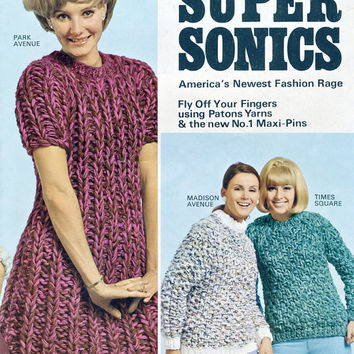 10 Hrs To Knit A Dress Or Sweater! - Patons Supersonics 1960's Vintage Knitting Pattern - Original Copy