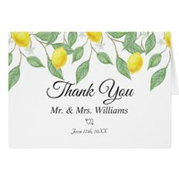 Modern Lemon Boho Summer Wedding Thank You Card