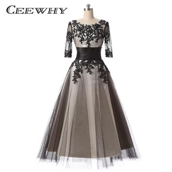 Three Quarter Sleeves Vintage Elegant Mid-long Coktail Dress 2018 Embroidery Robe de Cocktail Dress Special Occasion Gowns