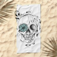 Poetic Wooden Skull Beach Towel by LouJah