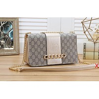 GUCCI Women Shopping Grey Leather Metal Chain Crossbody Satchel Shoulder Bag Golden