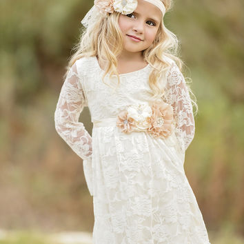 Sweetheart Boho Chic Ivory Lace Dress Set