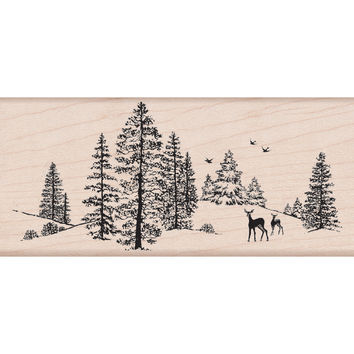 "Hero Arts Mounted Rubber Stamp 5""""X2.25""""-Winter Scene"