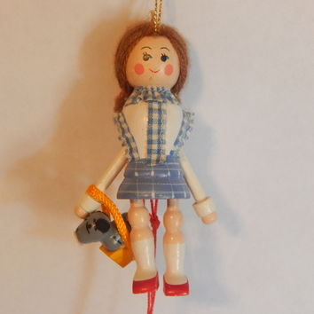 Dorothy and Toto Wizard of Oz Christmas Tree Ornament Pull It Puppet String Toy Vintage 1983 Kurt Adler Animated Collectible Wooden Decoration