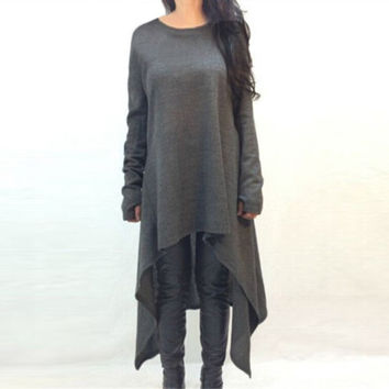 Oversized Pullover Long Loose Top