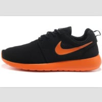 """NIKE"" roshe Trending Fashion Casual Sports A Simple yet Powerful Style Nike Shoes Black (orange hook soles)"