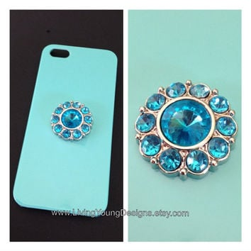 Aqua Blue Jewel Case iPhone 4 4S 5 Blue Jewel