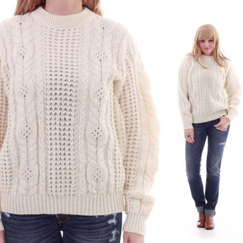 9a8eeb152 Vintage Fisherman Sweater Ivory off White Cable Knit Jumper 70s