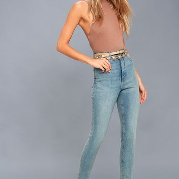 Donna Light Blue High-Waisted Skinny Jeans