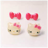 Handmade Glitter Hello Kitty Pink Bow Earrings and Pink Bow Earrings Set