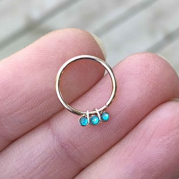 Teal Opal Rose Gold Daith Hoop Ring Rook Hoop Cartilage Helix Tragus