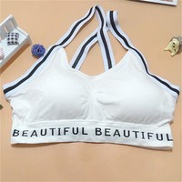 Women Sexy Letters Straps Sports Bras Seamless Padded Gym Fitness Athletic Running Yoga Vest Bra Sport Tank Tops