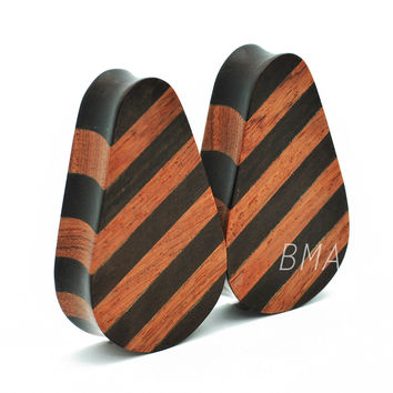 Jaya and Dark Raintree Wood Teardrop Plugs (6mm-51mm)