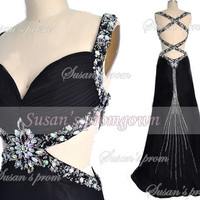2014 Evening Dress,Straps Beads Backless Formal Dresses, Prom Dresses,Evening Dress,Wedding Dresses,Homecoming Dress,Evening Gown