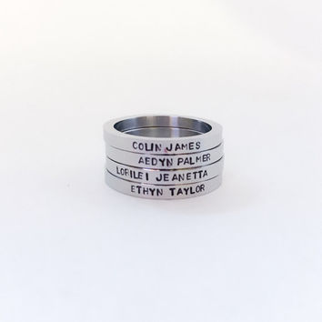 Personalized stacking ring, Custom name ring, stackable name ring, hand stamped ring, Stainless steel ring, Stackable ring, Date ring