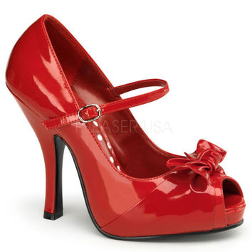 Pin Up Couture Cutiepie Red Patent Open Toe Pumps