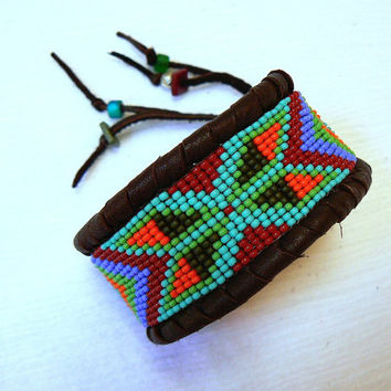Cuff Bracelet Native American Beaded Deerskin ~ MADE to ORDER ~ Leather Color Choice, Geometric Arrow, Turquoise & Colorful Beads, OOAK