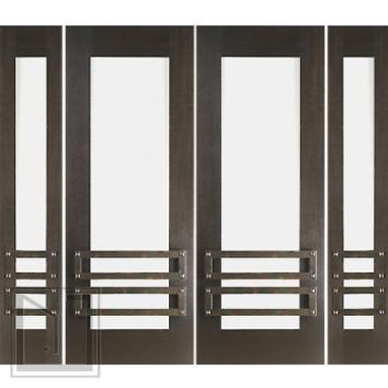 "Prehung Prehung 2-1/4"" Thick Mahogany Double Doors Sidelites Low-E Glass Iron Work"