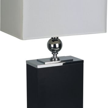 25-Inch Table Lamp On Metal Base - Black and Silver