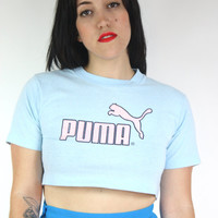 30% OFF SALE 90s PUMA Crop Top / Pastel Baby Blue and Pink Cropped Tee Health Goth Soft Grunge Normcore Athletic T-Shirt / Size S Small