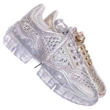 Crystal6 Rhinestone Crystal Platform Sneaker - Women Metallic Clear Lace Trainer