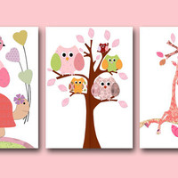 "Art for Children , Kids Wall Art, Baby Room Decor, Nursery print,set of 3 8"" x 10"" Print,bird,flowers,giraffe,green,artwork,owls,tree"