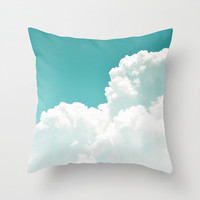 Mint Sky - Throw Pillow Cover, White Cloudscape Boho Chic Accent, Loft Bungalow Style Furnishing Pillow. In 14x14 16x16 18x18 20x20 26x26