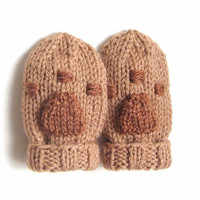 Hand Knit Paw Print Baby Mittens 3 to 12 Months - Bear Paw Print Thumbless Mitts Infant Baby Boy Baby Girl - Knit Paw Mittens Baby Mittens