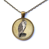 Bird necklace Owl jewelry Animal pendant CWAO188