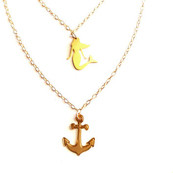 Layered Necklace Gold Filled Necklaces Mermaid Icon Anchor Jewelry Design Logo Necklace Beep Jewellery Small Pendant Miniature Minimalist