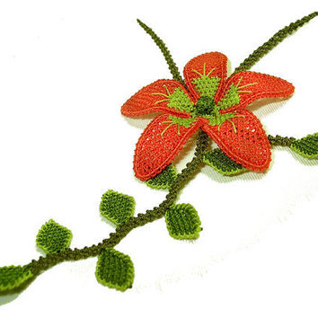 Red flower lace necklace boho chic crocheted by LandofDante