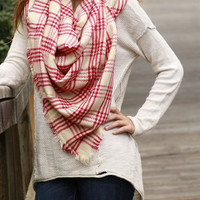 Red/Cream Blanket Scarf
