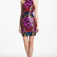 Nicole Miller Embroidered Trim Sequin Sheath Dress | Nordstrom